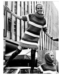 1960s Mod Mini Dress Knitting Pattern Color Block Stripe Sweater Dress with Hood Vintage PDF. 5.00, via Etsy.