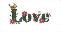 Digital item words cross stitch pattern love birds by LaMariaCha, $5.00
