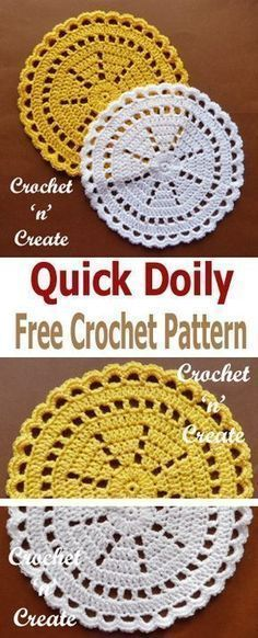 crochet this quick doily in just an hour or so, free crochet pattern. A crochet quick doily for you to make in just an hour or so, made with a combination of dc and sc with a pretty edge to finish. Crochet Squares, Free Crochet Doily Patterns, Crochet Motifs, Thread Crochet, Crochet Crafts, Crochet Stitches, Crochet Projects, Knitting Patterns, Granny Squares