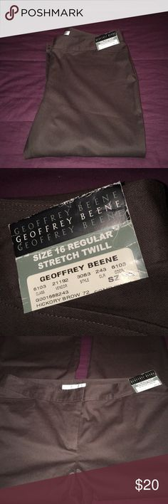 """Stretch Twill Pants By Geoffrey Beene Plus 16 NWT These pants are so classy and comfy. Can be dressed up or down. I love the quality of these💜 They measure 19"""" side to side at top of waist and inseam is 30"""". Rise is 11"""". They are  hickory brown color💕💕 Geoffrey Beene Pants Trousers"""