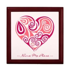 Pink tribal tattoo heart symbol girly love art gift box