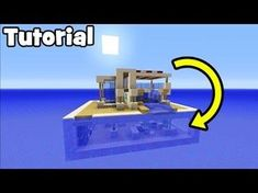 Minecraft Tutorial: How To Make A Modern Water House Lego Minecraft, Minecraft Water House, Minecraft Underwater House, Minecraft Mansion, Easy Minecraft Houses, Amazing Minecraft, Minecraft Houses Blueprints, Minecraft Construction, Minecraft House Designs