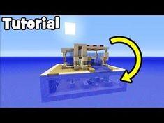 Minecraft Tutorial: How To Make A Modern Water House Lego Minecraft, Minecraft Water House, Minecraft Underwater House, Modern Minecraft Houses, Minecraft Mansion, Amazing Minecraft, Minecraft Construction, Minecraft Architecture, Minecraft Blueprints