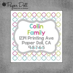Moroccan  Square Address labels  Set of 40 by PaperDollPrinting, $8.00