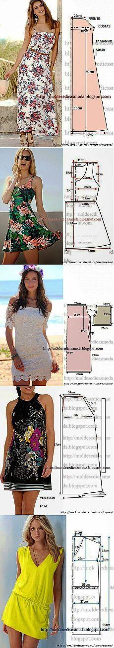 Для тех кто шьет...простые платья.....выкройки.