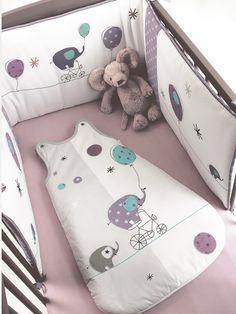 Silhouette Tour de lit Elefanbulle bébé + Gigoteuse Elefanbulle bébé + Drap-housse bébé uni : lot de 2 -