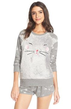 Free shipping and returns on COZY ZOE 'Kitty' Fleece Pajamas at Nordstrom.com. Adorable animal prints add whimsical appeal to the plush, long-sleeve top of a soft pajama set paired with French terry shorts.
