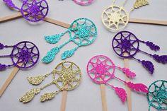 Dream Catcher Cupcake Topper ; Boho Tribal Party Decor ; Pow Wow Birthday ; Dream Catcher Decoration by LetsGetDecorative on Etsy https://www.etsy.com/au/listing/461020690/dream-catcher-cupcake-topper-boho-tribal