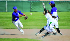 Doug Lindley/Idaho State Journal Century's Justin Frazier tosses the ball to Ike Martinez for the force out on Blackfoot's during inning play at the Bronco's baseball diamond. Broncos, Sports News, Idaho Sports, High School, Baseball, Running, Journal, Play, Diamond