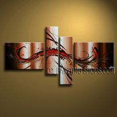Enchanting Modern Abstract Painting Artist Oil Painting For Bed Room Abstract. This 4 panels canvas wall art is hand painted by A.Qiang, instock - $155. To see more, visit OilPaintingShops.com