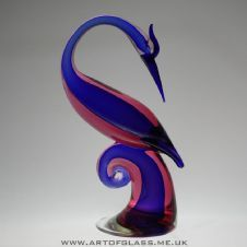 Salviati & Co. Murano large sommerso blue & pink glass bird sculpture
