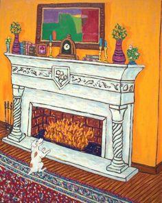 JACK RUSSELL TERRIER DOG art PRINT folk pop ART JSCHMETZ fireplace 13x19