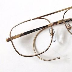 vintage 80s deadstock gold cable temple eyeglasses square metal double bridge frame eye glasses retro men unisex fashion eyewear simple old by RecycleBuyVintage on Etsy