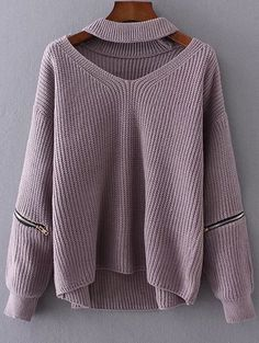 Dusty Mauve Zipped Sleeve Chunky Choker Sweater Purple Sweater, Zip Sweater, Pullover Sweaters, Asymmetrical Sweater, Vertical Stripes, Winter Wear, Sweater Fashion, Sweaters For Women, Costumes