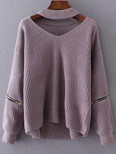 Cut Out Chunky Choker Sweater