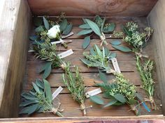 The boutonnieres will be seasonal greenery and foliages wrapped in ivory ribbon with the stems showing.