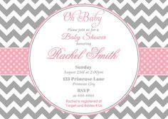 Baby Shower Invitation Girl Printable - Pink Grey Chevron Girl Baby Shower Invitation and FREE Thank You Card - Pink Baby Girl Shower Invite