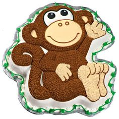 Monkey Cake - Encourage plenty of monkeyshines at your next kids' party. Use our disposable decorating bags, decorating tips and tinted buttercream icings to create a memorable Monkey Pan cake.