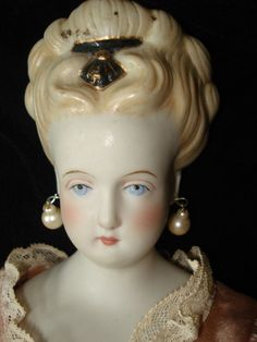 "Vintage 18"" Porcelain Emma Clear Doll from antiques4u on Ruby Lane"