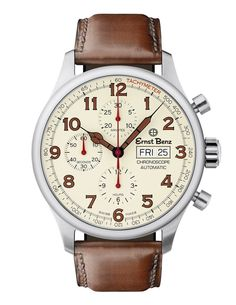 Ernst Benz GC40118 Unisex Automatic Swiss Made Watch 44mm Parchment Dial Chrono Brown Classic Leather Strap #swissmade