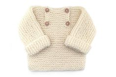 Jersey de bebé de punto bobo -Natural Baby - free pattern with lots of great images of creation process Baby Sweater Patterns, Baby Cardigan Knitting Pattern, Knitted Baby Cardigan, Knit Baby Sweaters, Knit Baby Booties, Romper Pattern, Sweater Knitting Patterns, Baby Patterns, Stitch Patterns