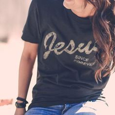 """This is a unisex tee with our """"Jesus Since Forever"""" design. Fit: Unisex and runs true to size. *Black with vintage gold design. Size Bust/Chest Inches XS 30-32 Small 34-36 Medium 38-40 Large 42-44 XL"""