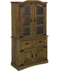 Aruba 2 Door Solid Pine Display Cabinet - Dark. #ArgosRoomInspiration