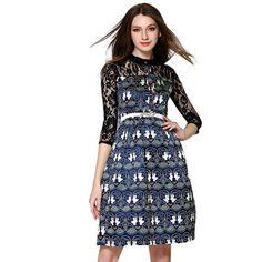Casual women dress half sleeve fashion maxi dresses o-neck lace hollow sexy dresses women clothing CD1659