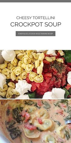 """Cheesy Tortellini Crockpot Soup Recipe is an easy, go-to, just """"throw it all together"""" vegetarian crockpot recipe. Cheesy Tortellini Crockpot Soup Recipe is an easy, go-to, just """"throw it all together"""" vegetarian crockpot recipe. Vegetarian Crockpot Recipes, Vegetarian Soup, Healthy Recipes, Soup Recipes, Chicken Recipes, Recipes Dinner, Weeknight Recipes, Crock Pot Tortellini, Tortellini Recipes"""