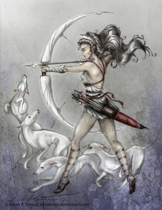Artemis/Diana, goddess of the hunt, forests, hills, and animals. Symbolized by the bow and arrow, deer, cypress tree, dogs, and the moon.