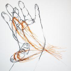 [실뜨기] 실뜨기하는 손가락의 움직임을 나타내었다. 색연필, 사인펜.
