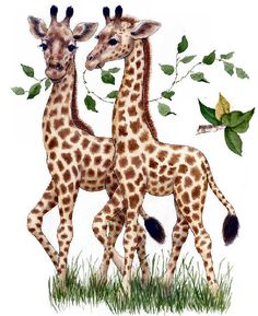 Any little explorer's room can be a colorful safari with this adorable piece of art. Hang these precious giraffes on the wall to encourage young imaginations. Giraffe Art, Cute Giraffe, Baby Giraffes, Animals And Pets, Baby Animals, Cute Animals, Animal Pictures, Cute Pictures, Art Mignon