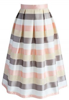 Stripes in the Spotlight Midi skirt - New Arrivals - Retro, Indie and Unique Fashion Beige Skirt, Stripe Skirt, Look Fashion, Unique Fashion, Pastel Skirt, Chicwish Skirt, Calf Length Skirts, Led Dress, Cool Style