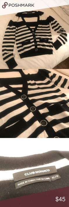 Club Monaco 100% Cashmere Cardigan XS Perfect as new condition! Luxuriously soft and chic black and white stripes like you stepped off a jet from Paris! Gorgeous gold lined buttons. XS Club Monaco Sweaters Cardigans