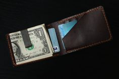 Mens Leather Wallet Minimalist Wallet Money by lotussilk on Etsy