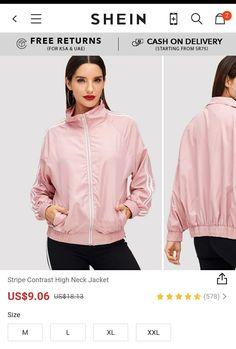 Buy Shein women Stripe Contrast High Neck Jacket pink Use promocode: SADCA15 to get extra 15% discount