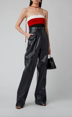 Moda Operandi Spring/Summer 2020 Peter Do - Leather Wide-Leg Pants. Nyc Girl, Strapless Tops, Textiles, Knitted Tank Top, Retro Look, Who What Wear, Wide Leg Pants, Women Wear, Street Style