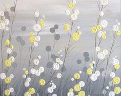 Sticker, champ de fleurs fantaisie gris jaune, texturé peinture acrylique sur toile, sur mesure