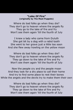 Nirvana Lake of Fire Lyrics-I love playing this on my guitar