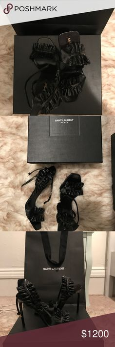 Saint Laurent Scarpe Donna Snake Sandals I purchased these gorgeous shoes in Italy last month. They are an exclusive Anthony Vaccarello design only available in Italy- currently sold out.  These sandals are simply gorgeous and add an edge to any cocktail look. I've never worn them. They are brand new in the original box with the shoe bags, receipt and retail bag. Saint Laurent Shoes Heels