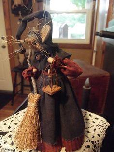Primitive Halloween Witch Mouser by buttermilkcreekfarm on Etsy