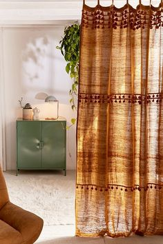 Slide View: Averi Pompom Gauze Window Curtain When it reaches to sleeping quarters decor Dining Room Curtains, Boho Curtains, Window Curtains, Orange Curtains, Vintage Curtains, Cortina Boho, Bohemian Bedroom Decor, Natural Home Decor, My New Room