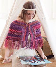 Catskills Cape Free Crochet Pattern from Red Heart Yarns