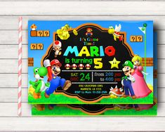 These 19 Awesome Super Mario Birthday Party Ideas will help you bring this game to life with fun ideas for desserts, decorations, games, and more! Super Mario Birthday, Mario Birthday Party, Super Mario Party, Birthday Games, 4th Birthday Parties, Super Mario Bros, Birthday Party Invitations, Theme Parties, Birthday Ideas