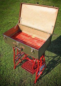 Vintage Sewing Machine Base With Vintage Suitcase Top