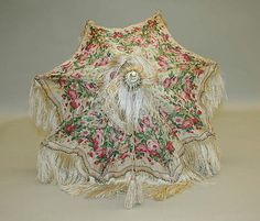 French pink roses silk parasol ca. 1850