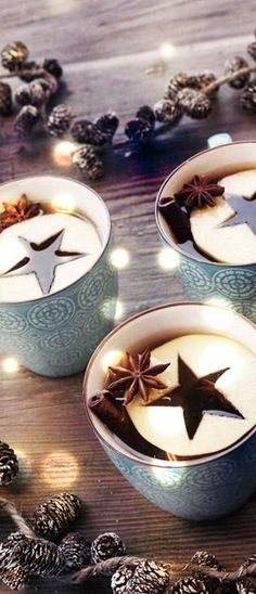 Christmas Drinks - love the apple star idea for mulled cider глинтвейн Christmas Drinks, Noel Christmas, Rustic Christmas, Christmas Treats, All Things Christmas, Winter Christmas, Christmas Decorations, Christmas Coffee, Holiday Drinks