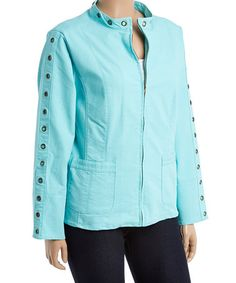 Look what I found on #zulily! Aqua Embellished Jacket - Plus #zulilyfinds
