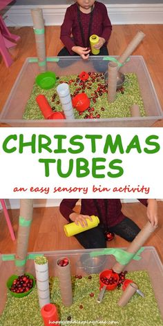 Keep your toddler or preschooler busy during the holidays with an easy to set up Christmas Tubes sensory bin! They will have fun sliding cranberries and more down cardboard tubes! Christmas Activities For Toddlers, Christmas Crafts For Kids, Christmas Themes, Toddler Fun, Toddler Preschool, Preschool Activities, Kindergarten Sensory, Toddler Christmas, Simple Christmas