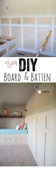 LOVE this Board & Batten tutorial using plywood! So easy! www.shanty-2-chic.com: